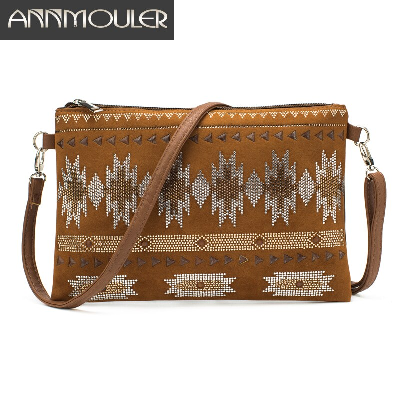 Bolso bandolera pequeño Annmouler para mujer, bolso de hombro con retazos de gamuza, bolso de mano con cristales geométricos, elegante bolso tipo sobre, bolsos