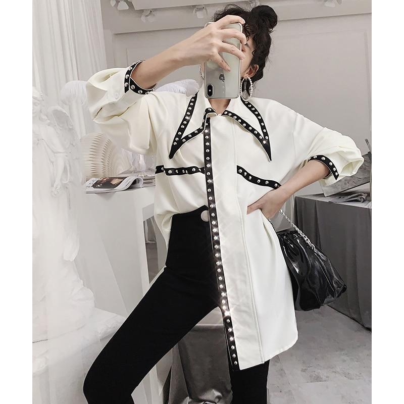 Spring Women 2019 New Chiffon Contrast Rivet Shirt Corner Collar Loose Long Trendpunk Vintage Shirt Streetwear Top