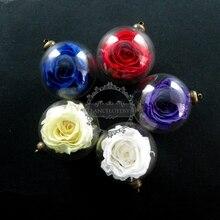 30mm verre dôme pendentif rouge, violet, jaune, blanc, bleu réel préservé rose fleur amant flacon antique bronze charme 1810395