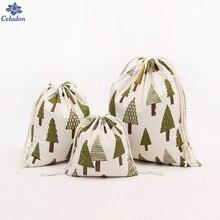 14x16 cm, 19x24 cm, 25x32 cm Baumwolltuch Kordelzug Süßigkeiten Geschenk Taschen für Kinder Weihnachtsbaum Kleine schmuck Geschenk 1 Stücke