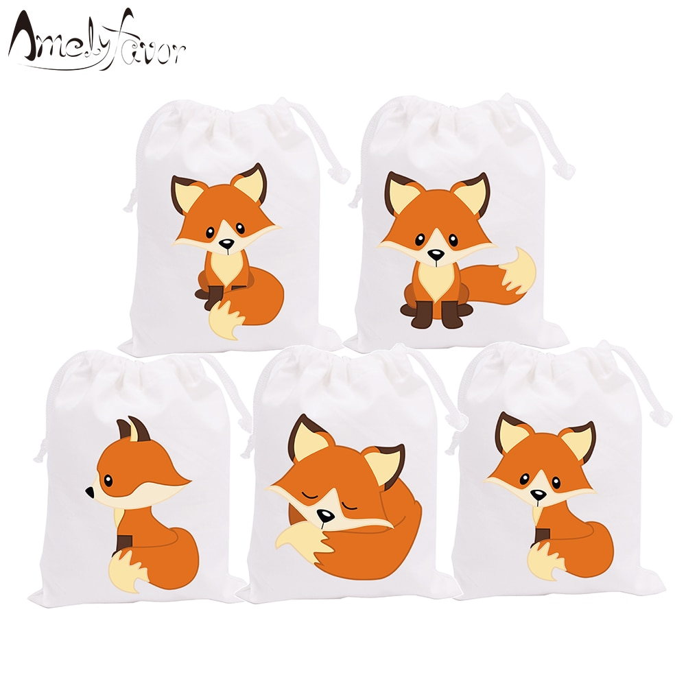 Woodland Fox Animals Theme Party Favor Bags Candy Bags Holiday Baby Shower Birthday Gift Bags Party