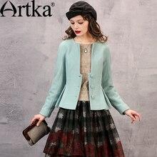 ARTKA Women's Autumn New 3 Colors Elegant Woolen Coat V-Neck Long Sleeve Cinched Waist Drapped Hem Coat With Sashes WA10069Q