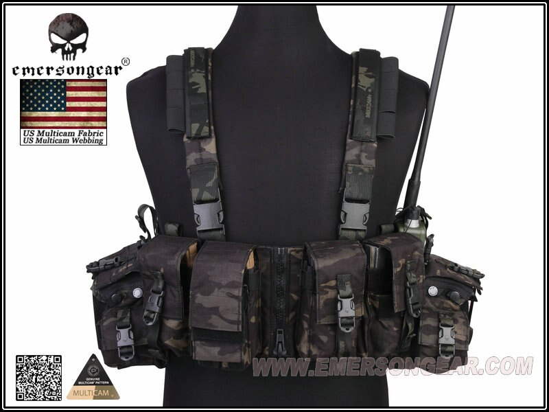 Emersongear LBT 1961A-R Chest Rig Tactical Vest Airsoft Combat Gear USA Nylon Cordura EM2977MCBK Multicam Black