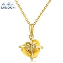 LAMOON romantyczne serce naszyjniki naturalny cytryn 925 srebro Fine Jewelry 14K żółte złoto Colar kobiety LMNI017