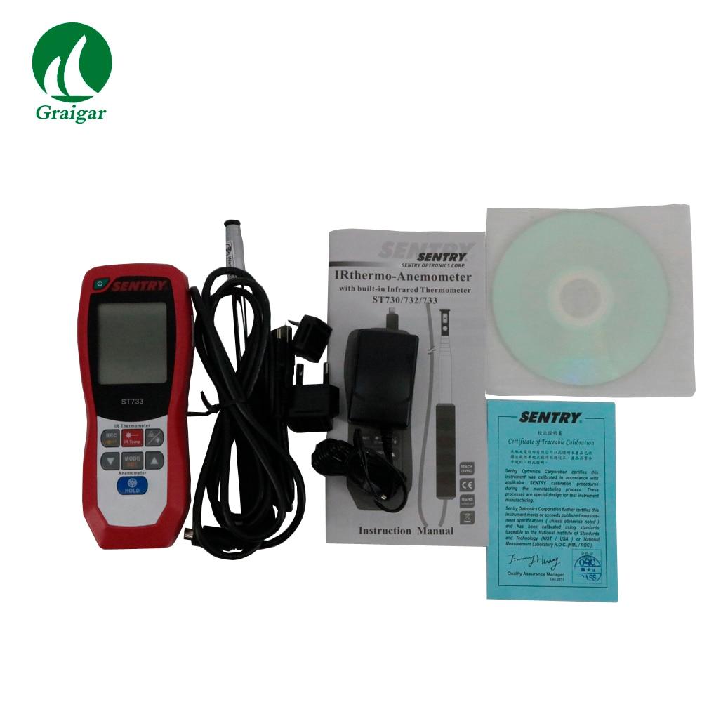 Anemómetro de alambre caliente de alta calidad ST733 IR medidor de flujo de aire de temperatura de viento Digital