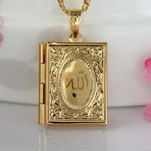 Fashion New Gold Kleur Islam Allah Moslim Ketting Quran Koran Boek Loket Box Hanger Met Ketting Muhammad Religie Sieraden Gift