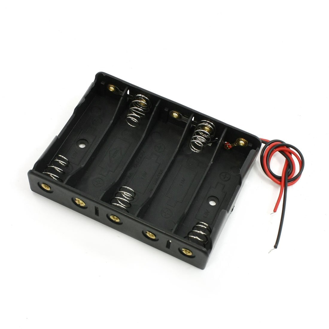 EDT-5 x 1,5 V AA batería ranura funda, soporte caja con cable negro