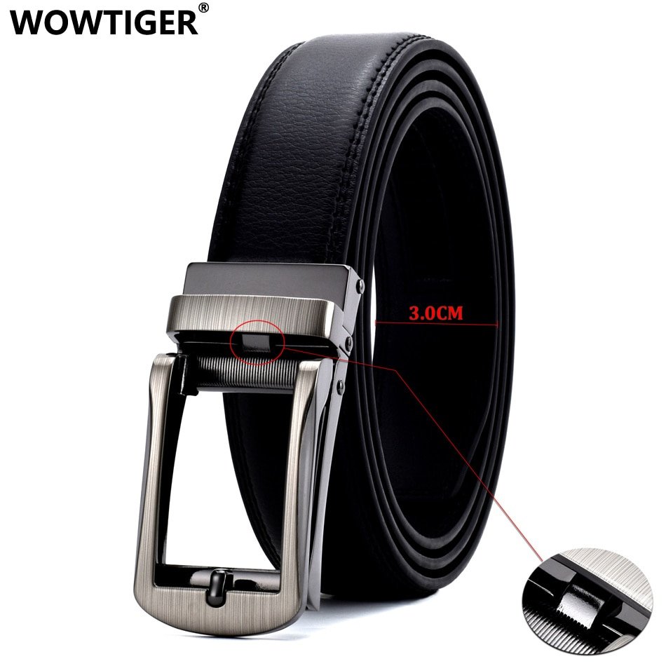 WOWTIGER Men 3cm width Luxury Designer black Genuine Leather Strap belt Automatic Ratchet with Open Linxx Buckle Belts for Men