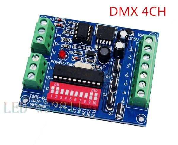 4CH Dmx 512 Decodificador RGBW DMX Fácil, Dimmer, Controlador, Drive, DC5V-24V para Luz Conduzida da tira, lâmpada