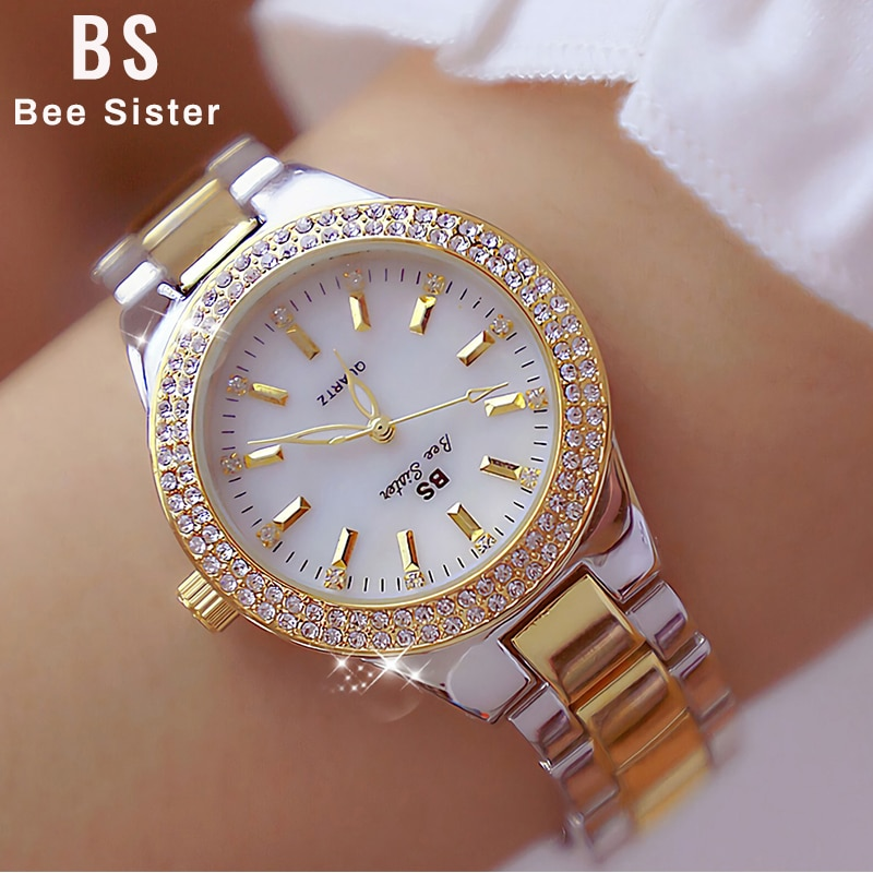 BS Women Quartz Wrist Watches Fashion Luxury Gold Ladies Crystal Diamond Watches Dress Stainless Steel Clock Women Montre Femme enlarge