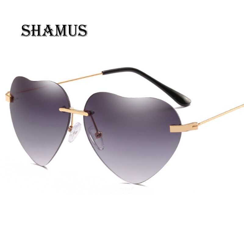 SHAMUS солнцезащитные очки в форме сердца женские модные Металлические оттенки 2018 дизайнерские солнцезащитные очки без оправы женские модные...