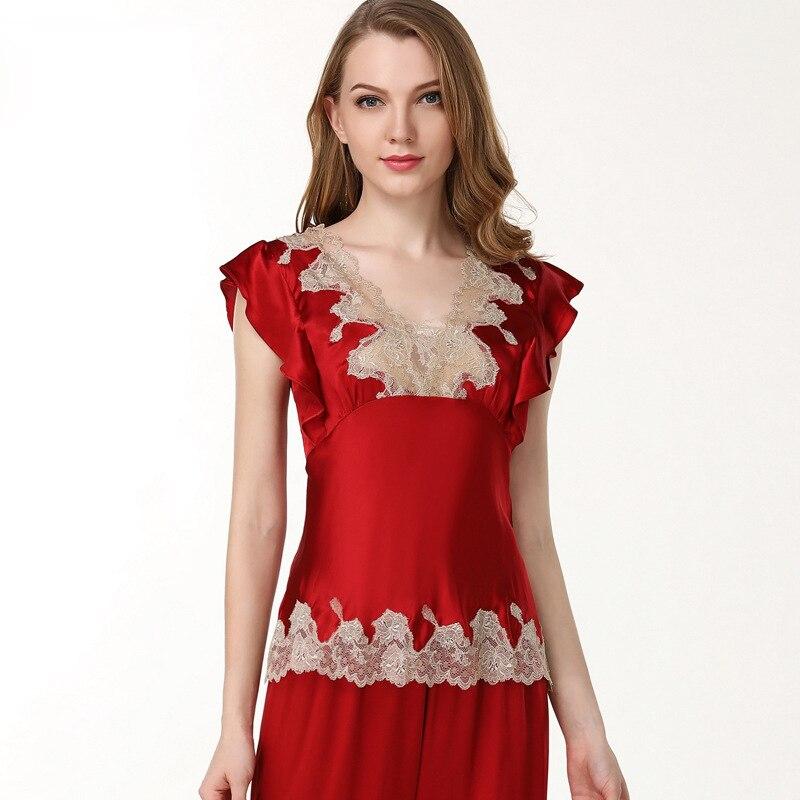 بيجاما حريرية بأكمام قصيرة ، دانتيل أحمر ، مثير ، للنساء ، لون سادة ، ياقة على شكل v ، ملابس نوم ، مجموعة صيف 100%