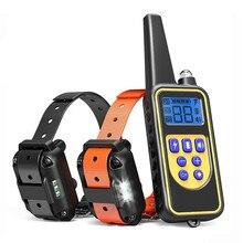 Coleira de treinamento do cão de estimação elétrico colar treinamento choque eletrônico controle remoto à prova dwaterproof água recarregável display lcd