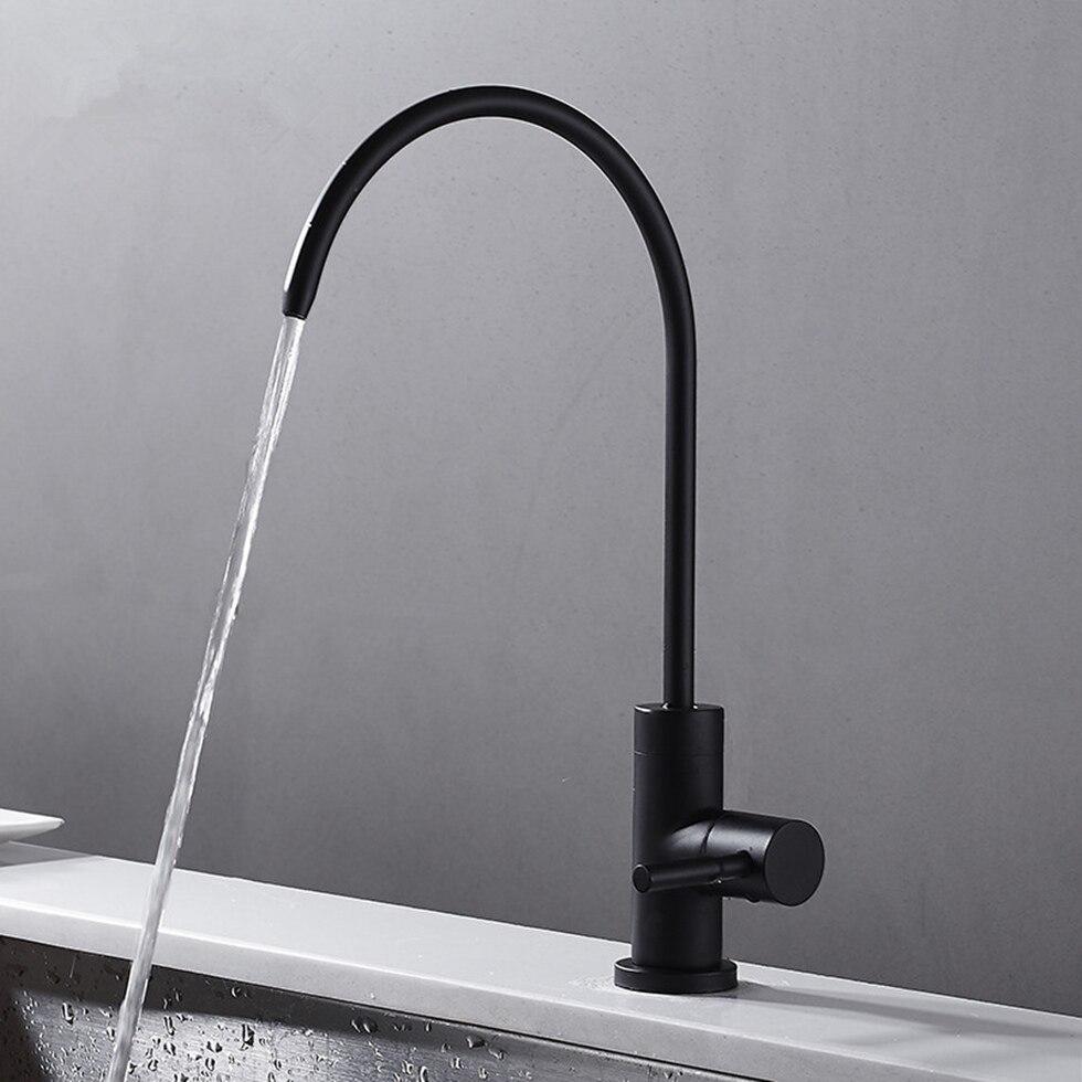 Grifo de acero inoxidable negro mate RO sin plomo sistema de filtración de agua potable tubo de 1/4 pulgadas
