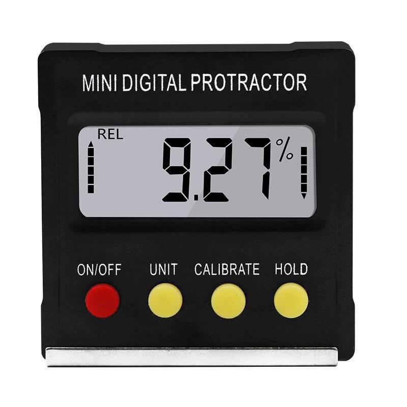 Inclinómetro Digital para transportador, caja de nivel, detector de ángulo a prueba de agua, caja de bisel, goniómetro, imán, regla de calibre negro