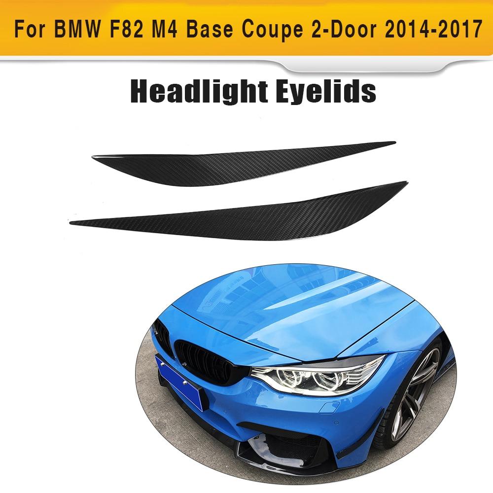 Pestañas para Faro, serie 4, de fibra de carbono, adornos para los párpados de BMW F32 F33 F36 F82 F83 M4 F80 M3 14-18, estilismo para el coche