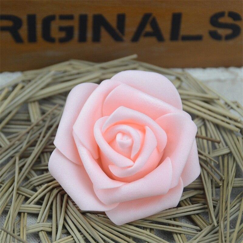 50 piezas 6cm Artificial PE espuma Rosa Flores cabezas para la decoración del partido del hogar de la boda DIY Garland manualidades suministros falsos flores bola