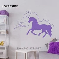Stickers muraux licorne nom de bebe   Autocollants muraux personnalises en vinyle  decor artistique de chambre a coucher  motif de course de licorne M384