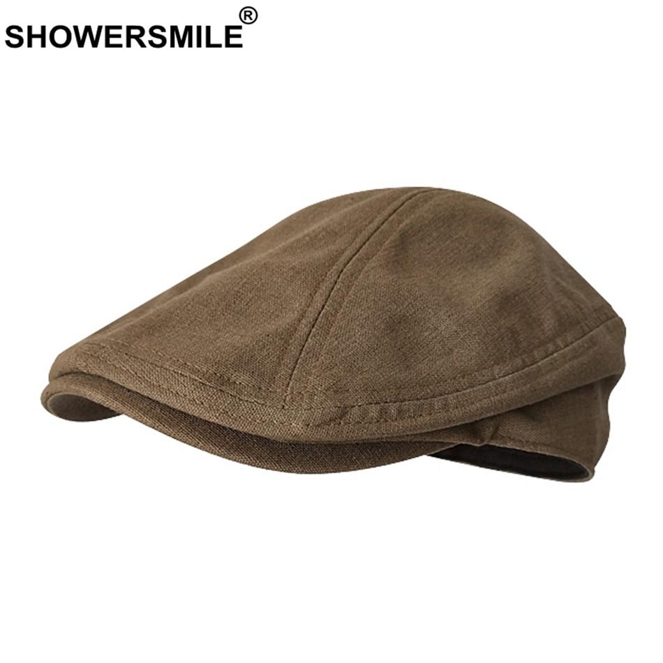 SHOWERSMILE gorras planas Vintage para hombres, gorro de lino de color liso, Boina informal para mujer, gorra de café de pico de pato, gorra de hiedra, sombreros transpirables de verano de marca
