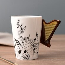 Novelty Violin Guitar Trumpet Clarinet Wooden Guitar Harp Piano Music Note Mug Coffee Tea Ceramic Mugs Drinkware Gift