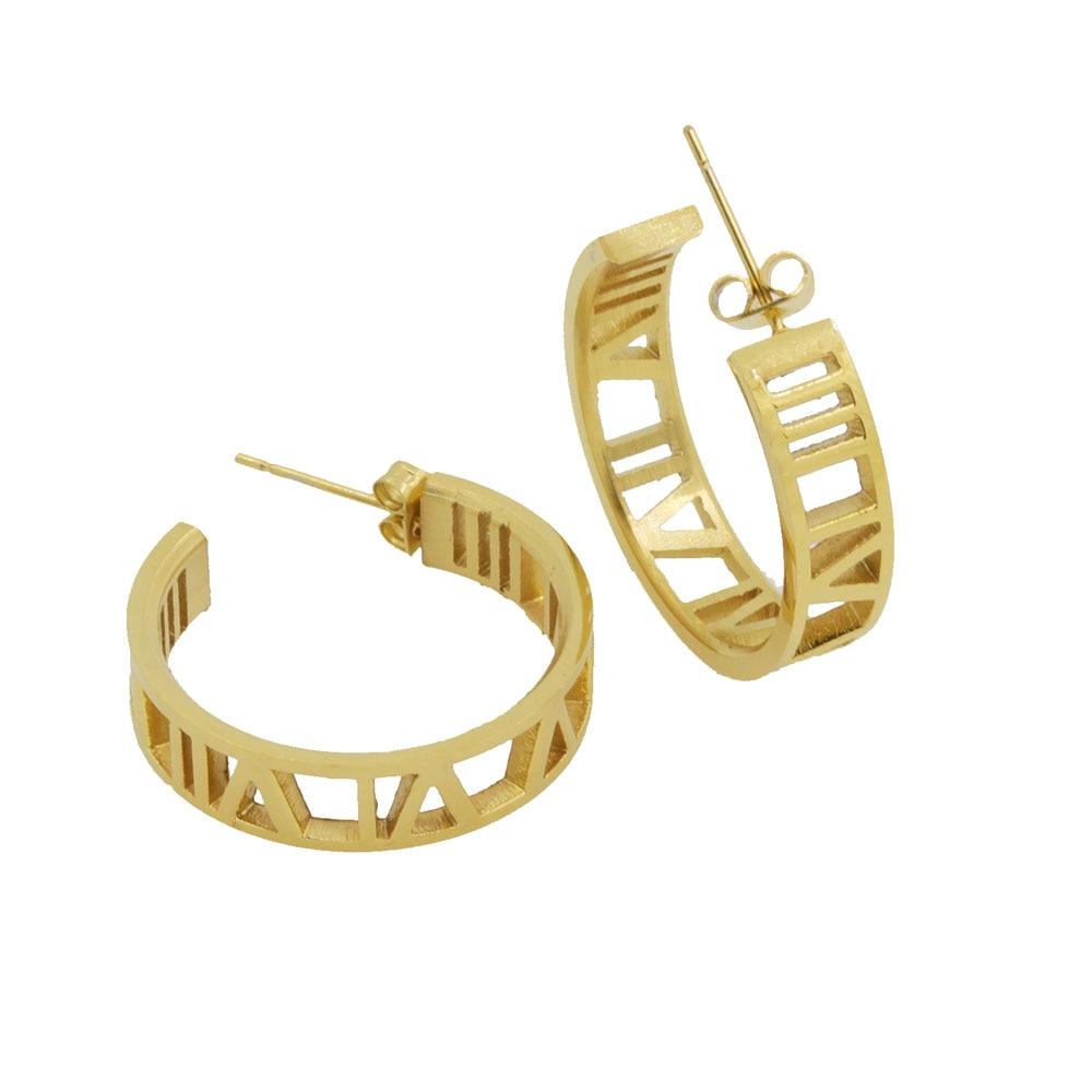 AliExpress - Fashion Jewelry Roman Numerals Stud Earrings Stainless Steel Gold Colour Lover Earrings For Women Piercing Jewelry