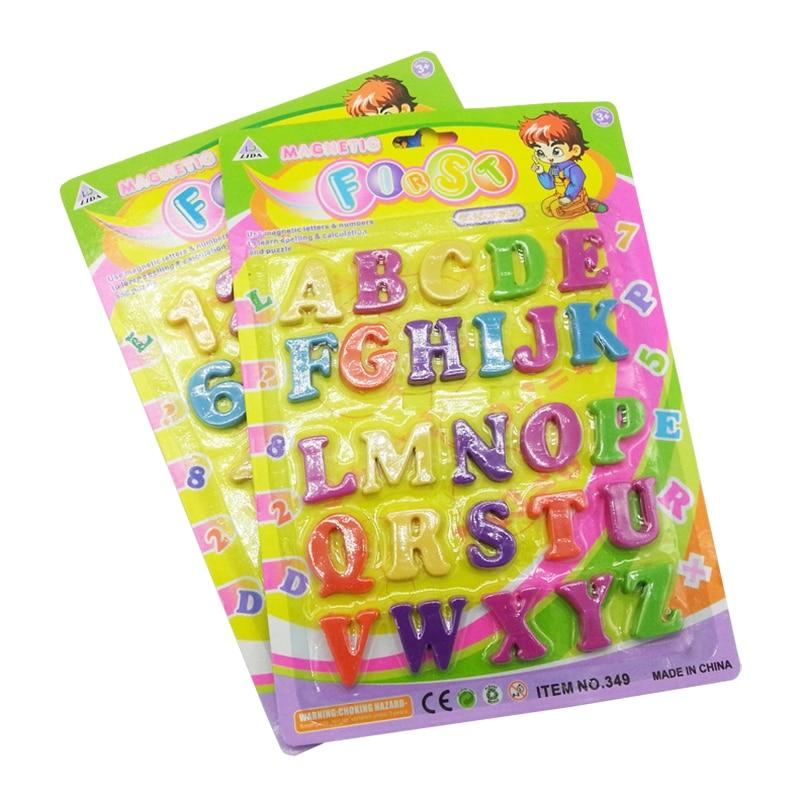 Пластиковая обучающая игрушка, 26 шт., 3,5 см, с английским алфавитом и цифрой, магниты на холодильник