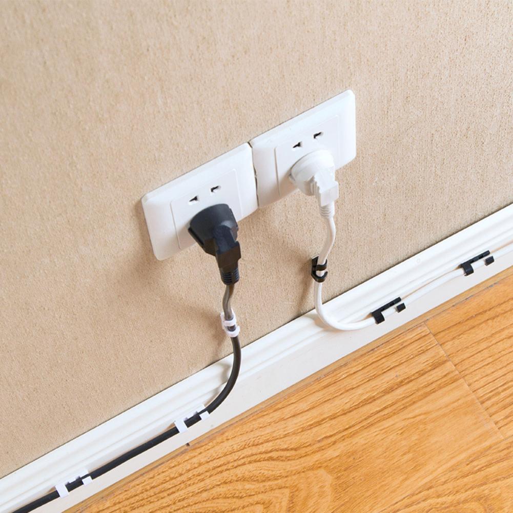 Nuevo 20 pzas auto-adhesivo Clips de alambre organizador de Cable de línea de hebilla fijador de Clips titular