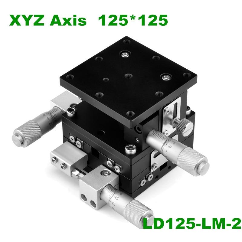 LD125-LM-2 125*125 مللي متر XYZ 3 محور محطة التشذيب دليل الثقيلة تحميل النزوح منصة مزدوجة عبر الأسطوانة دليل انزلاق الجدول