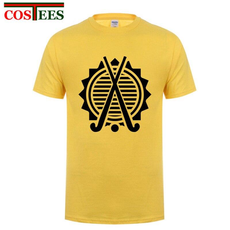 Camiseta de manga corta con cuello redondo para hombre, camiseta 2017 algodón Premium de hockey sobre campo, camiseta divertida de Base familiar, 100%