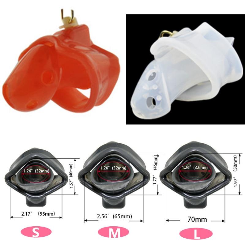 Sex Shop último diseño 3 tamaños silicona transparente picos castidad masculina pene jaula dispositivo fijo funda para pene anillo juguetes sexuales para hombres