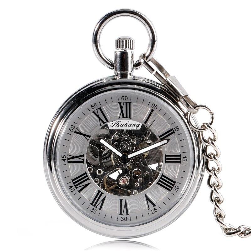 ساعة جيب ميكانيكية أوتوماتيكية فاخرة ، آلية ، هيكلية جير ، أرقام رومانية سوداء ، وجه مفتوح ، هدية للجيب