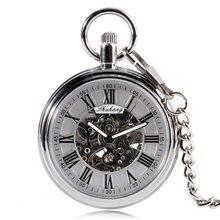 Luxury Pocket Automatic Mechanical Self Wind Pocket Watch Skeleton Gear Black Roman Numbers Open Fac