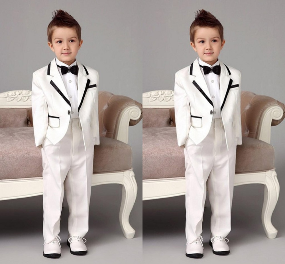 New White Notch Lapel Children Suits For Wedding Handsome Boy Tuxedos Party Dinner Prom Suits (Jacket+Pants) boys england white vertical striped lapel children vest piano show catwalk blazer set boy piano wedding party costumes h464