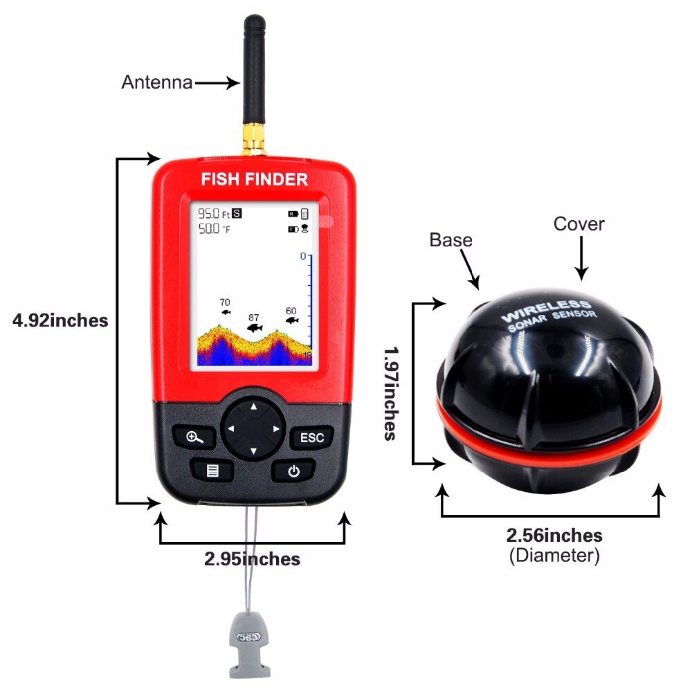 Free Shipping Hot Sale Alarm 100M Portable Sonar LCD Wireless Fish Finder Fishing lure Echo Sounder Fishing Finder fishfinder enlarge