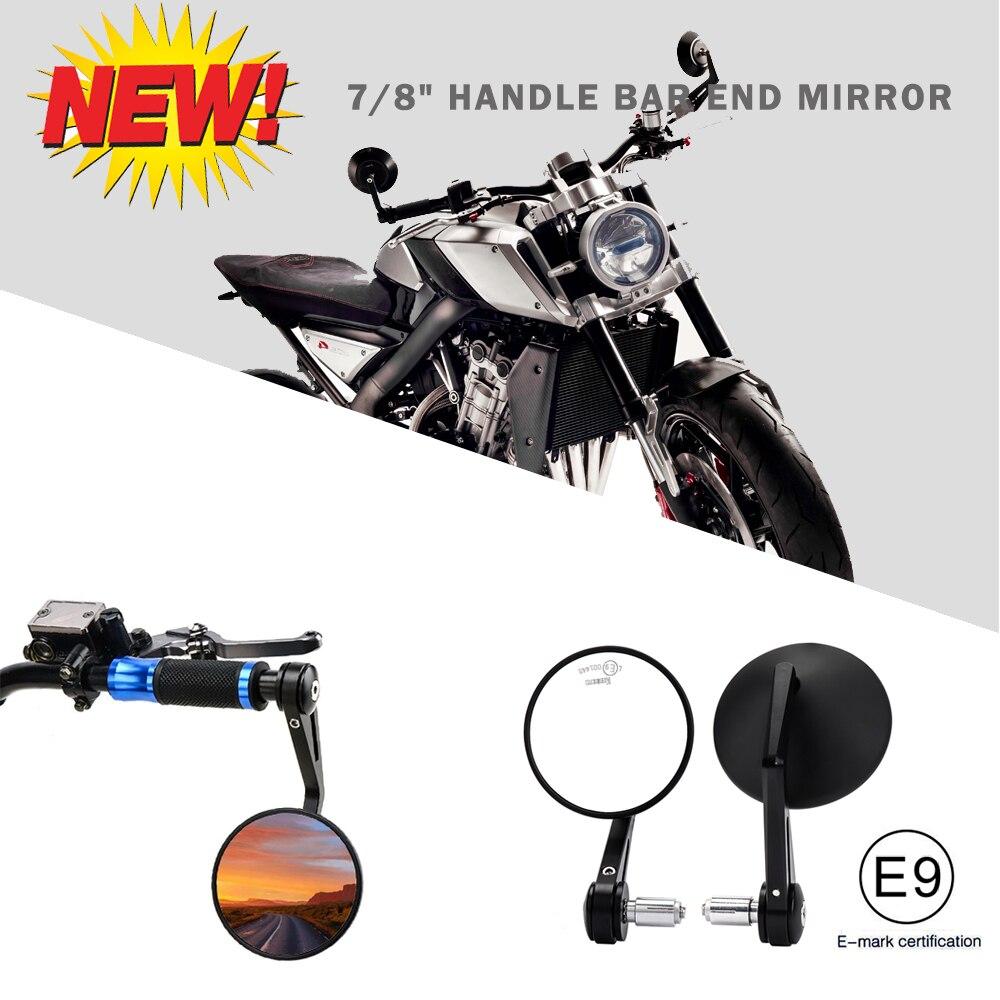 """Para ATV MT 07 MT 09 S1000 FZ8 G310R R1200 GSXR 690 Z750 Z1000 e-mark, ajuste redondo, espejos retrovisores con extremo de manillar de 7/8 """"22mm"""