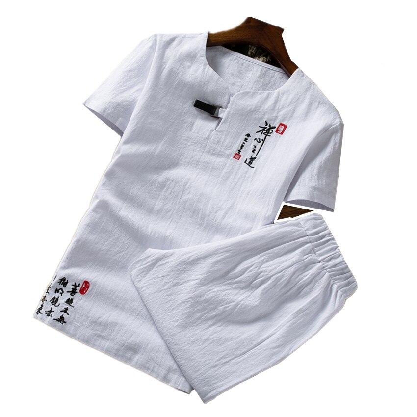 Été couleur Pure Style chinois rétro broderie hommes à manches courtes costume 2 pièces ensembles grande taille 6XL coton et lin tissus