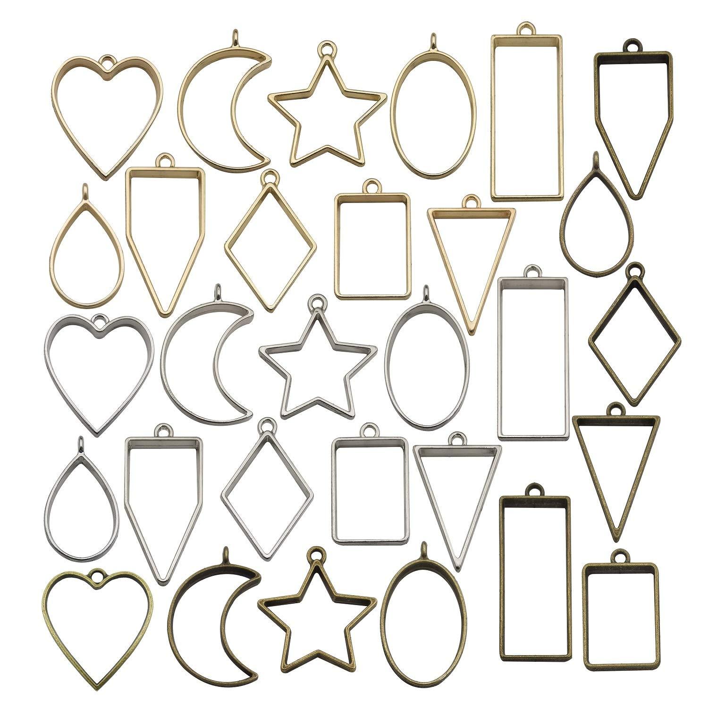 10 pçs do vintage oco pressionado flor coração geométrico moldura da foto pingente colar pulseiras resina brincos diy jóias suprimentos