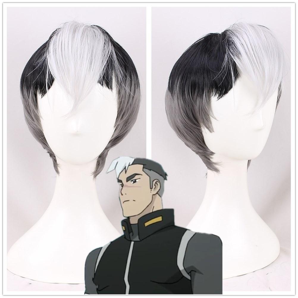 Voltron legendario defensor Shiro cosplay peluca para hombre Shiro negro mezcla Peluca de pelo blanco disfraces
