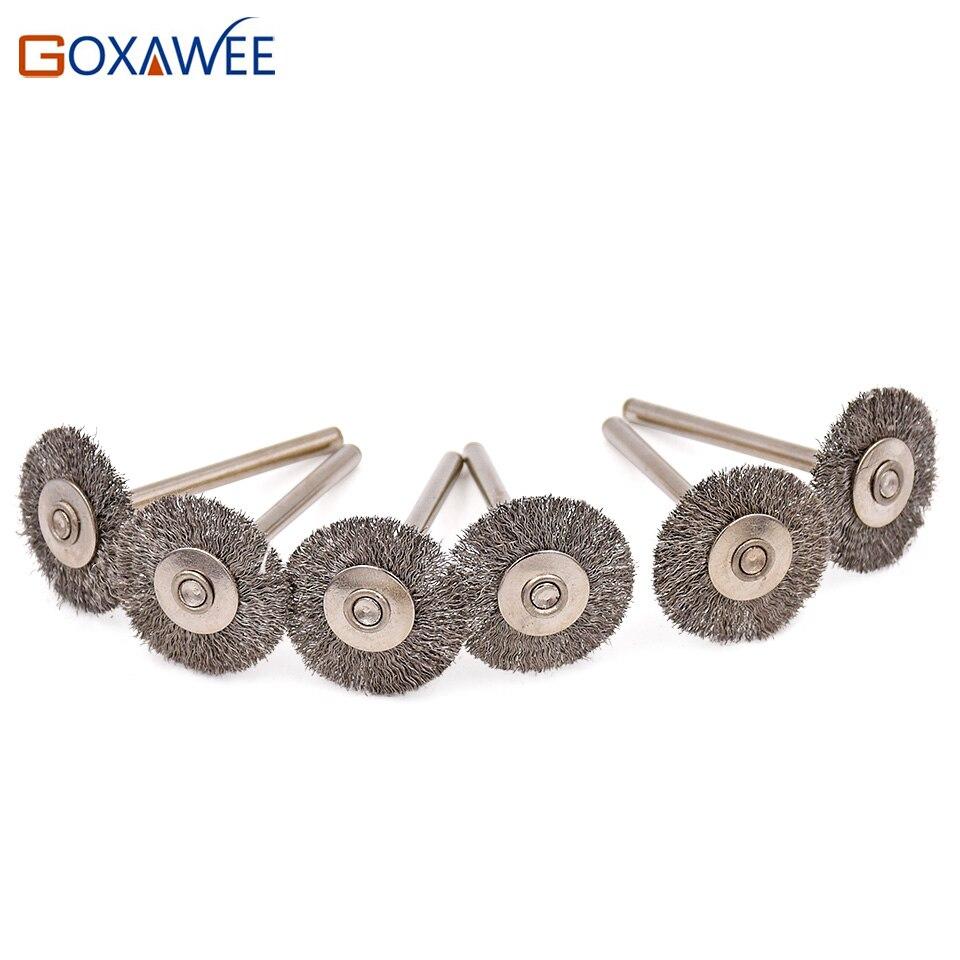 GOXAWEE 50 Uds. 22mm cepillo de rueda de alambre de acero inoxidable herramienta rotativa de pulido para Mini taladro Dremel herramientas de pulido abrasivas