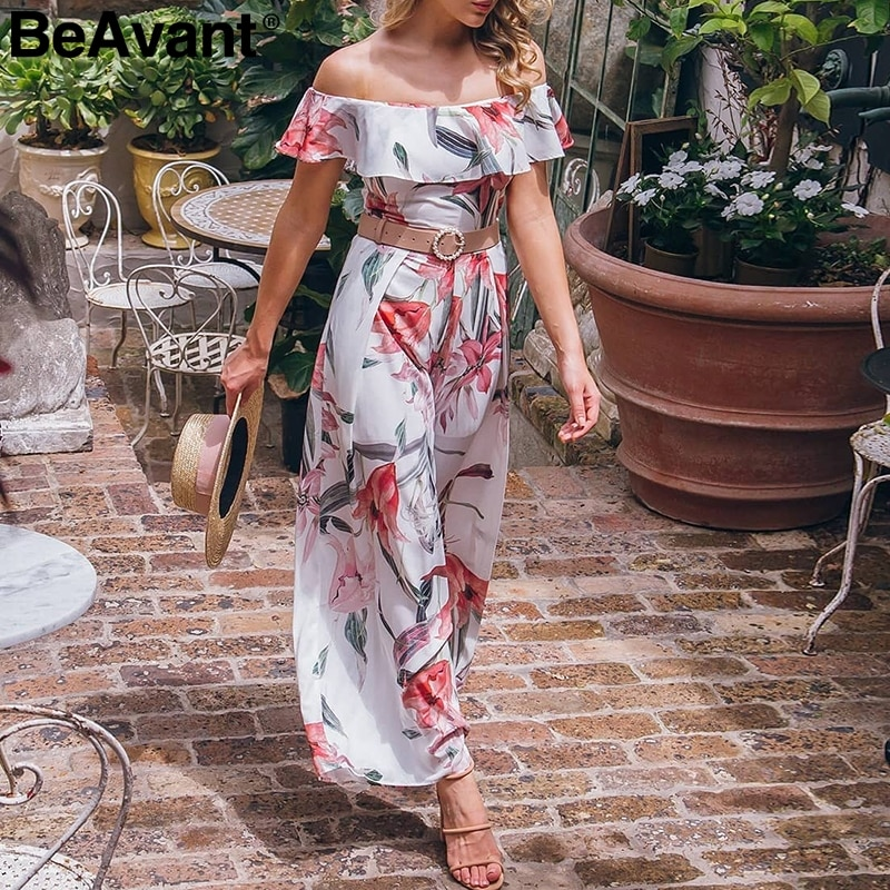 BeAvant Bohemian floral print jumpsuit women Elegant off shoulder sash ruffle romper jumpsuit Summer beach long playsuit female