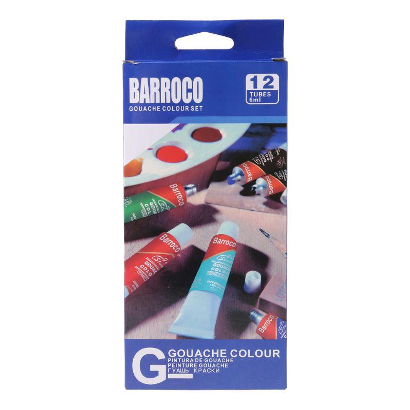 Juego de tubos de pintura Gouache de 12 colores, 6ml, pintura con pigmentos para dibujar con pincel, suministros de arte, pigmentos de acuarela, pintura al óleo