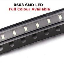 Freies Schiff 100PCS 0603 LED bead Blau Rot Gelb Grün Warm Weiß lila Orange SMD licht emittierende diode hohe helle qualität