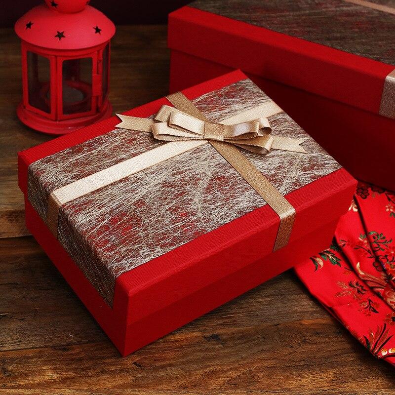 Caja de regalo a la moda, caja de regalo personalizada roja de lujo, caja de regalo creativa de negocios, gran caja de regalo de alta costura