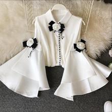 2020 spring new fashion court wind blouse o-neck off shoulder big trumpet sleeve slim chiffon women shirt