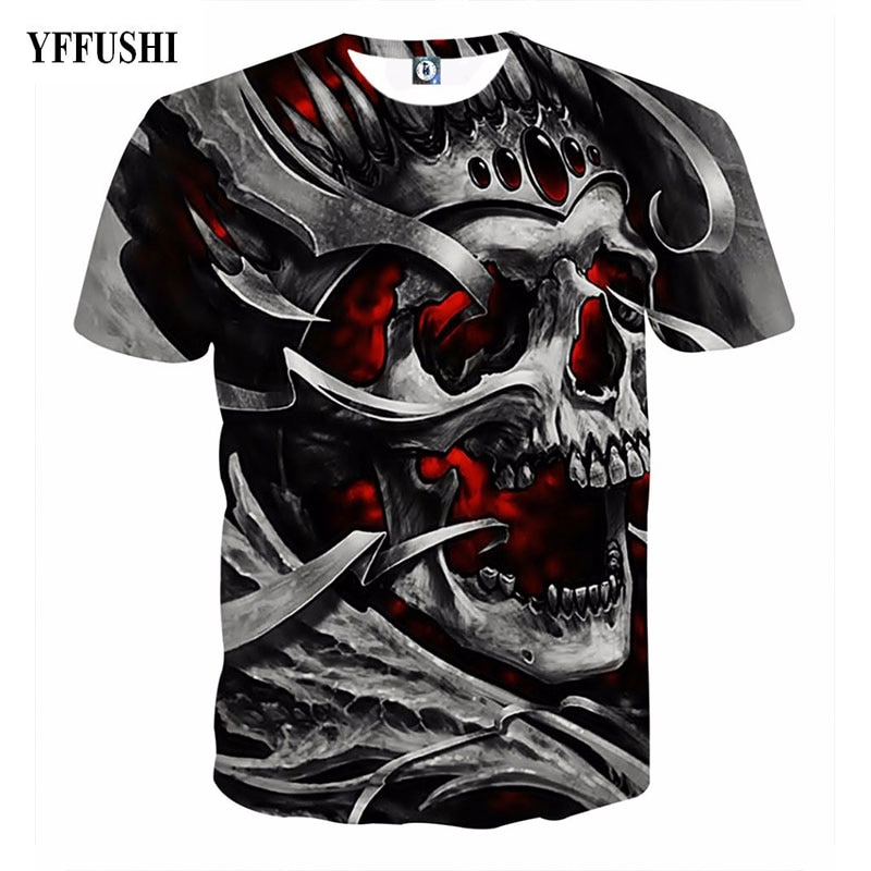 Мужская/Женская 3d футболка YFFUSHI, черная футболка в стиле хип-хоп с принтом железного черепа, большие размеры 5XL