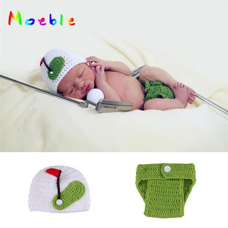Haak Photo Props Outfits Pasgeboren Baby Sport Golf Stijl Kostuums Casual Gebreide Baby Cartoon Fotografie Kleding