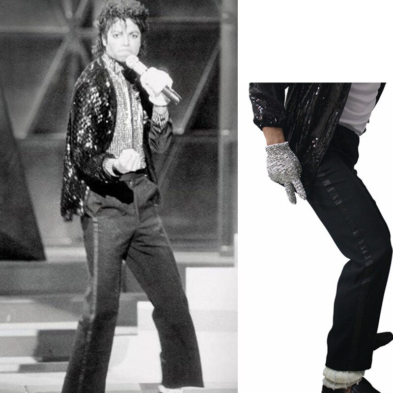 MJ Michael Jackson Black Billie Jean Entertainers Black Straight trousers Casual Cropped Jeans Elasticity Ankle-Length pants