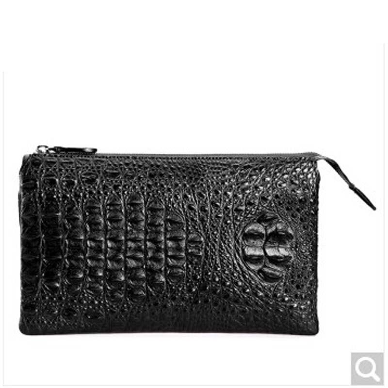 fasiqi  new arrival Crocodile leather business men hand bag zipper male envelope bag men handbags men clutch bags black