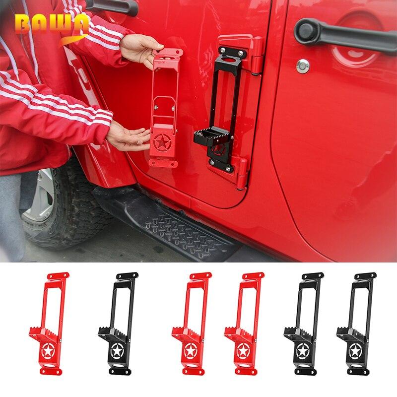 Bisagra de puerta Exterior BAWA, paneles, clavijas de pie para Jeep Wrangler JK JL 2007 + Pedal de apoyo, Kit de escalada de acero para gladiador JT