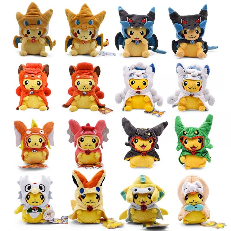 16-30cm Pikachu cosplay de charizard Vulpix Gyarados de dibujos animados juguetes de peluche de felpa muñeca Anime Pikachu juguete de peluche suave para los niños mejor regalo